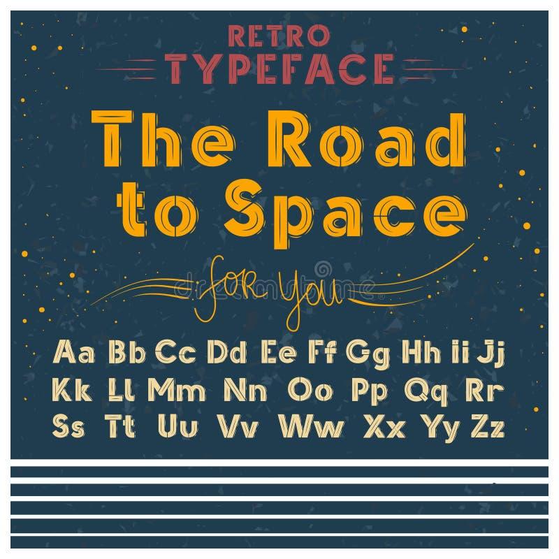 Ilustração retro do vetor da fonte do cartaz do caráter tipo velho do estilo do vintage do esboço do grunge de letras do alfabeto ilustração do vetor
