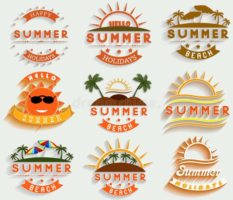 A ilustração retro do vetor das etiquetas e dos sinais das férias de verão projeta elementos ilustração royalty free