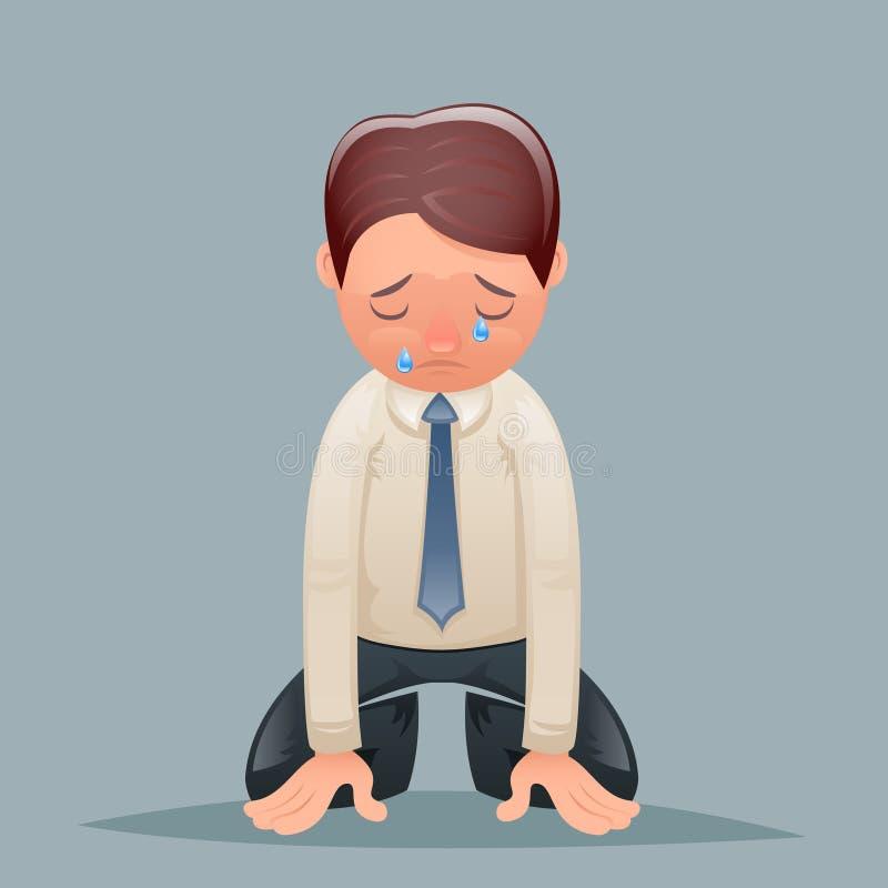 Ilustração retro do vetor do projeto dos desenhos animados do ícone do caráter de Despair Suffer Grief do homem de negócios do vi ilustração do vetor