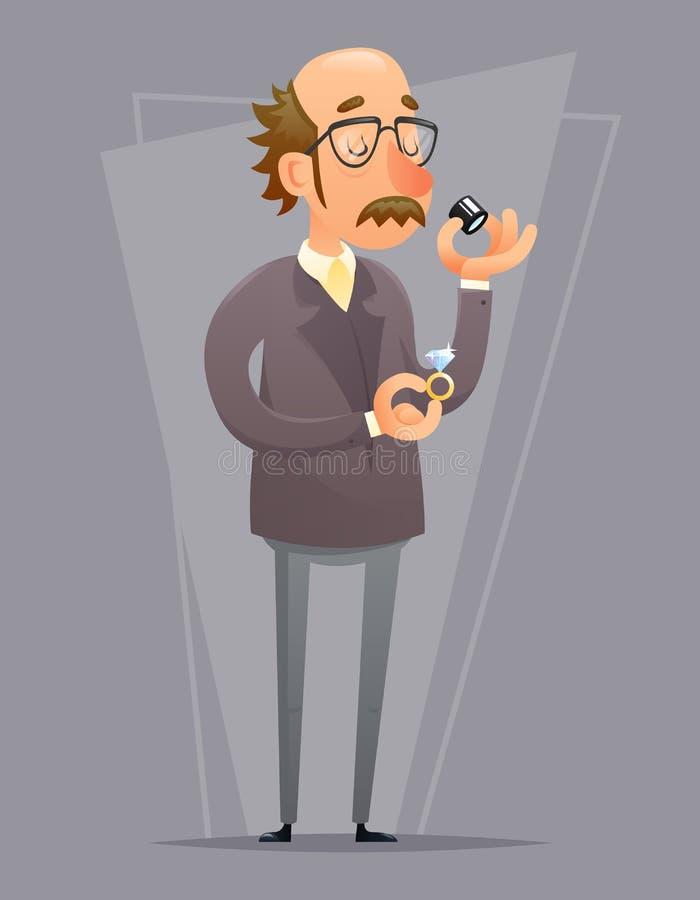 Ilustração retro do vetor do projeto dos desenhos animados do ícone do processo da verificação de Valuer Appraiser Quality do joa ilustração do vetor