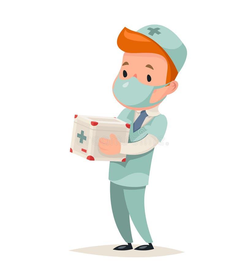 Ilustração retro do vetor do projeto dos desenhos animados do doutor Character Icon Medic do refrigerador de Hold Portable Organ  ilustração royalty free