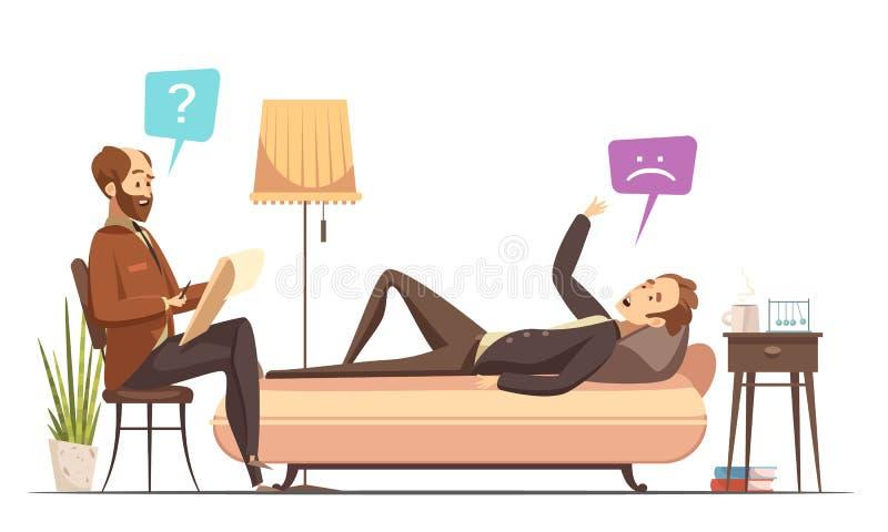 Ilustração retro do vetor dos desenhos animados da sessão da psicoterapia ilustração stock