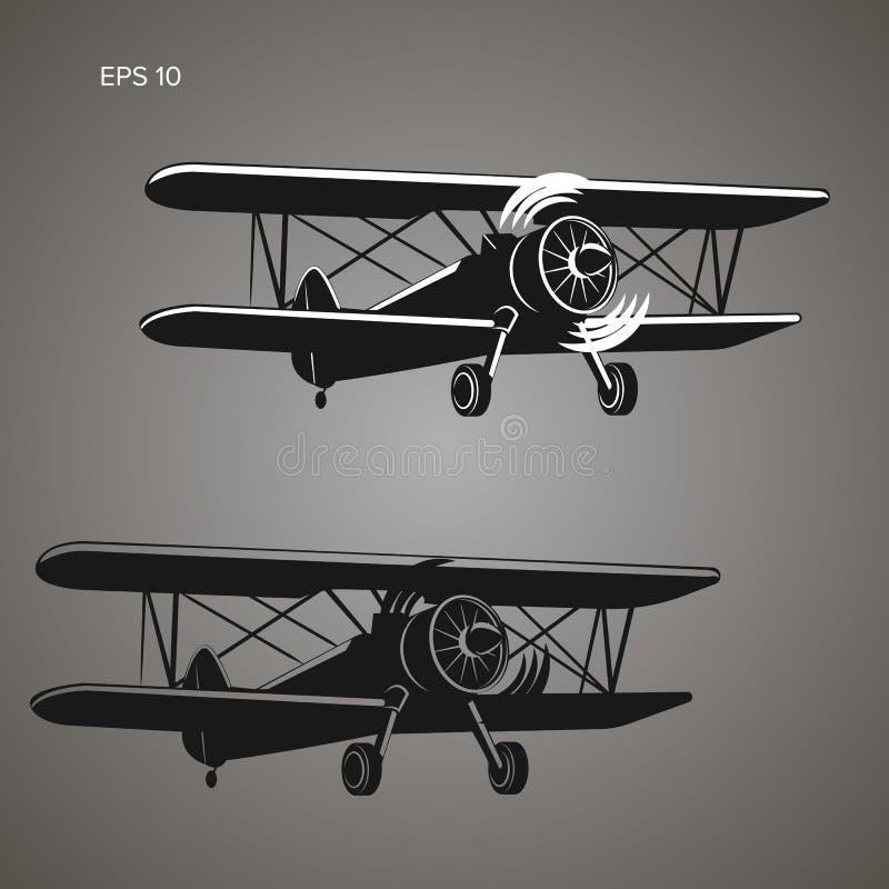 Ilustração retro do vetor plano do biplano Imagem do avião do motor de pistão do vintage ilustração royalty free