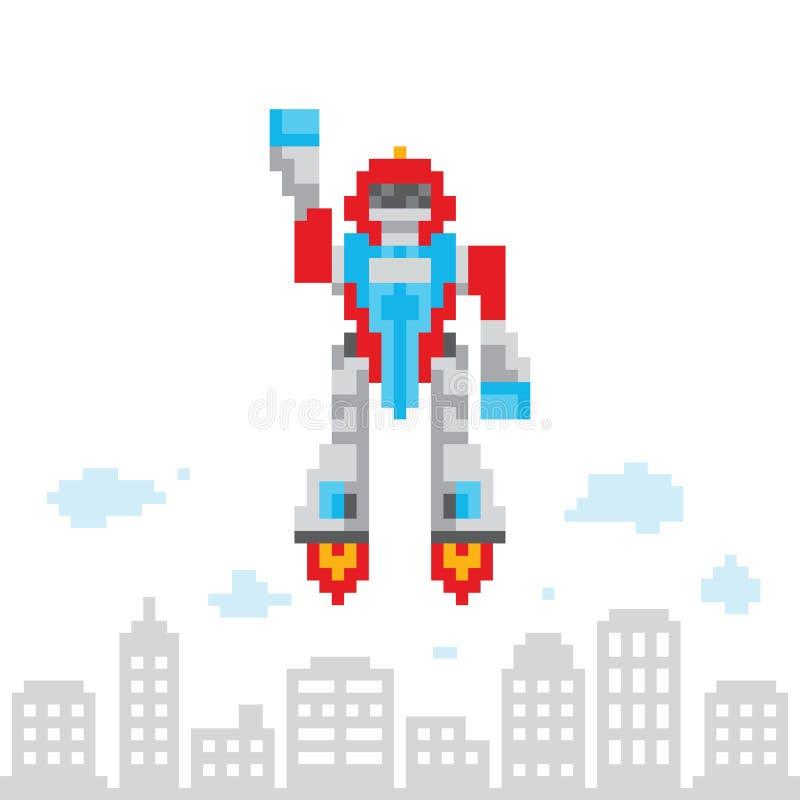 Ilustração retro do vetor do robô do voo dos desenhos animados do estilo do jogo da arte do pixel ilustração do vetor