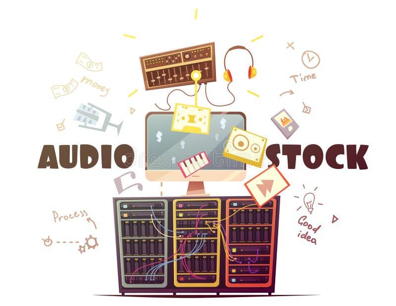 Ilustração retro dos desenhos animados do conceito audio de Microstock ilustração royalty free