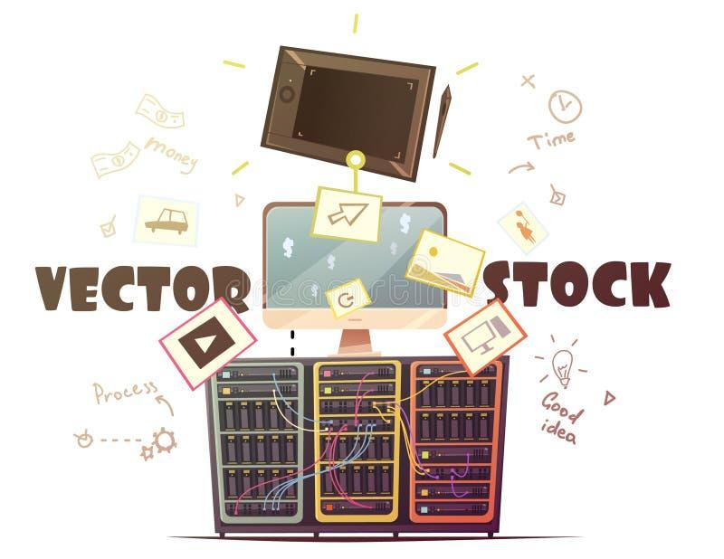 Ilustração retro dos desenhos animados do conceito do vetor de Microstock ilustração royalty free