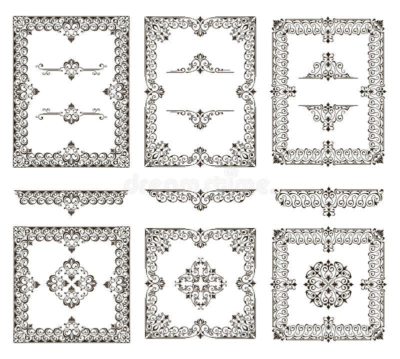 Ilustração retro floral do projeto do art deco das etiquetas das beiras dos quadros dos cantos dos elementos dos ornamento ilustração royalty free