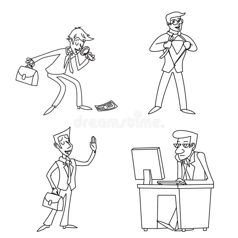 Ilustração retro isolada ícone do vetor do projeto dos desenhos animados de Cartoon Characters Set do homem de negócios do vintag ilustração stock