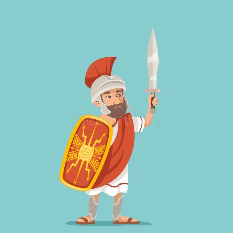 Ilustração retro romana grega do vetor do projeto dos desenhos animados do ícone do caráter do vintage do soldado do guerreiro do ilustração stock