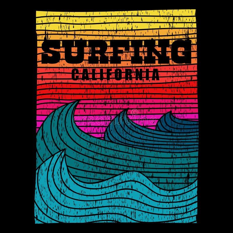 Ilustração retro surfando do vetor de Califórnia do mar ilustração do vetor