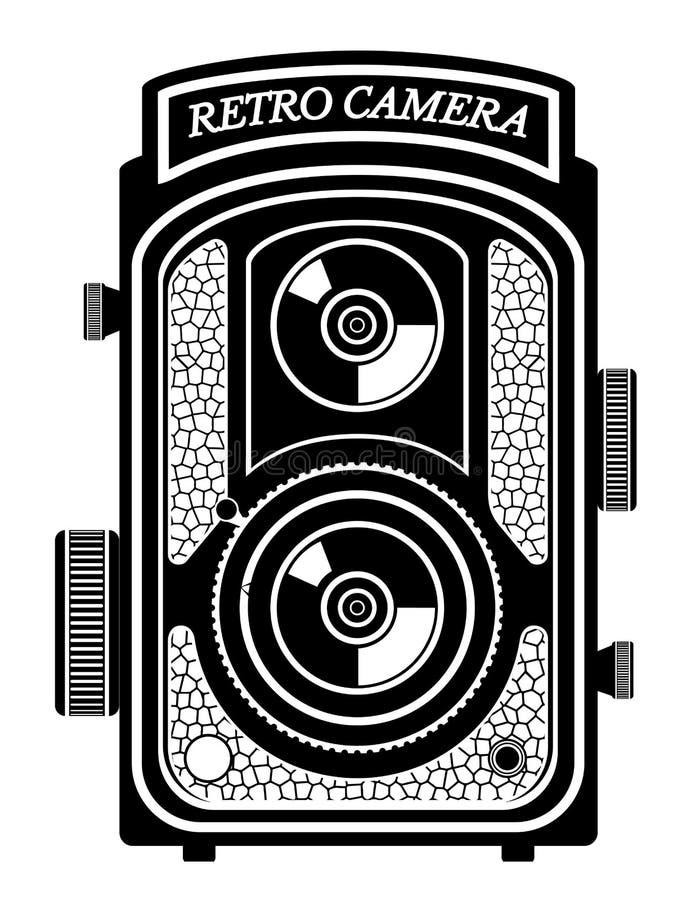 Ilustração retro velha do vetor do estoque do ícone do vintage da foto da câmera ilustração royalty free