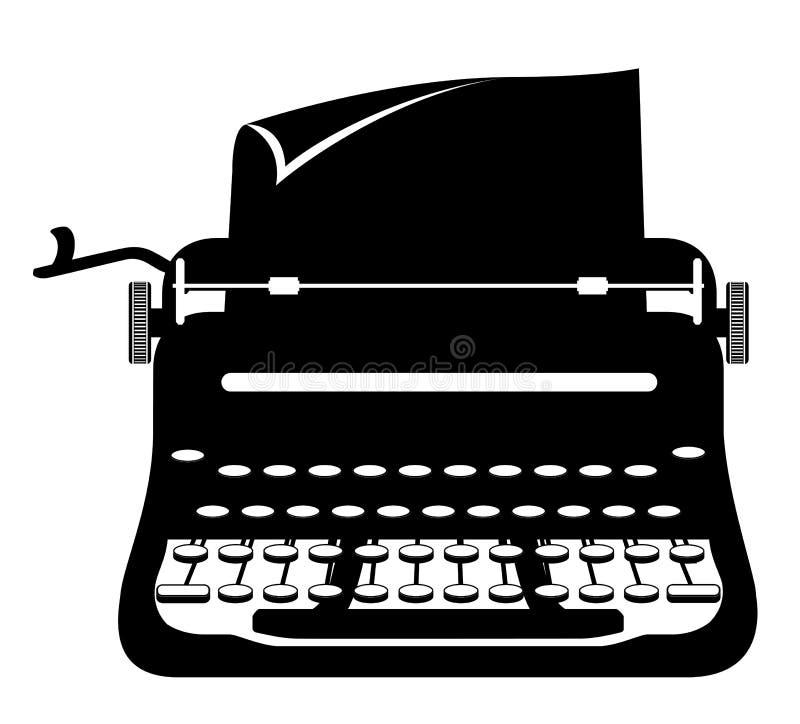Ilustração retro velha do vetor do estoque do ícone do vintage da máquina de escrever ilustração royalty free