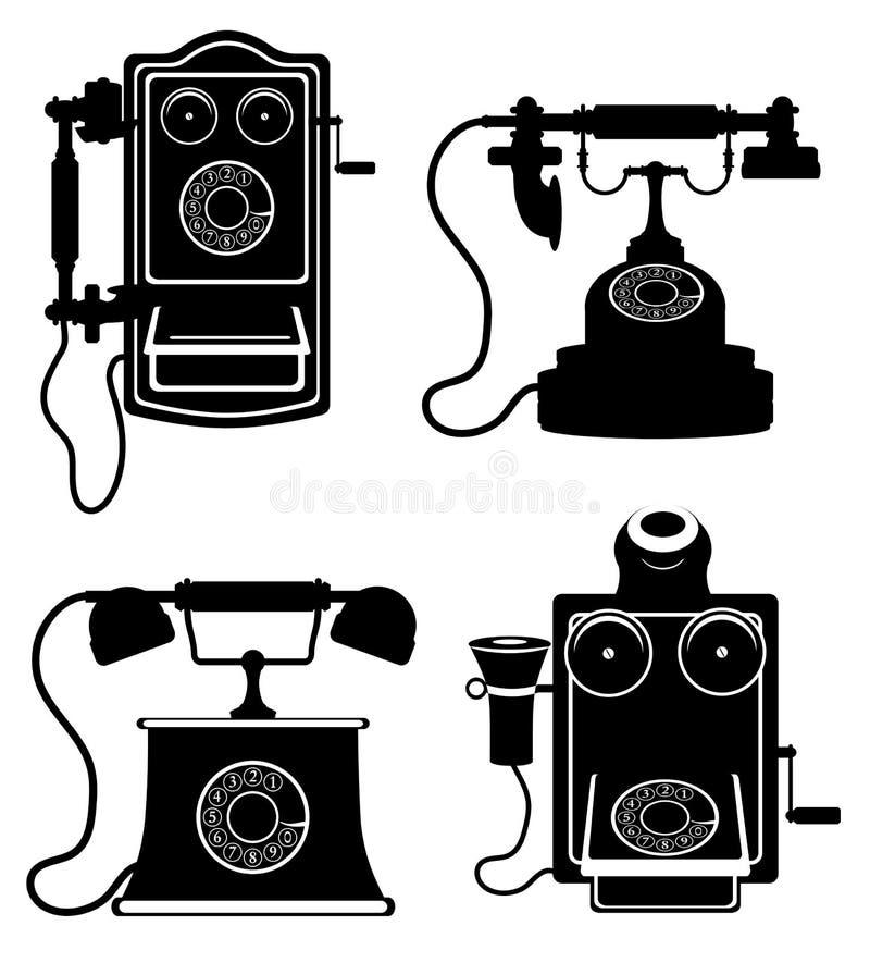 A ilustração retro velha do vetor do estoque do ícone do vintage do telefone enegrece para fora ilustração royalty free
