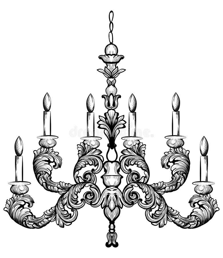 Ilustração rica do vetor do candelabro dos rococós Decoração detalhada dos ornamento ilustração do vetor