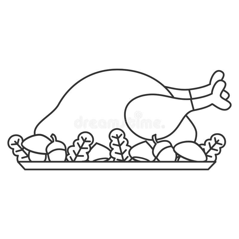 Ilustração roasted do vetor do peru da ação de graças dos desenhos animados dia preto e branco bonito para a arte colorindo ilustração royalty free
