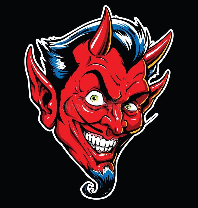Ilustração Rockabilly do vetor da tatuagem do diabo na cor completa ilustração do vetor