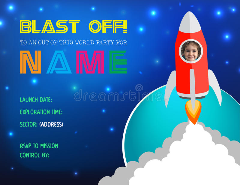 Ilustração Rocket Birthday Party Card Invitation do vetor ilustração royalty free