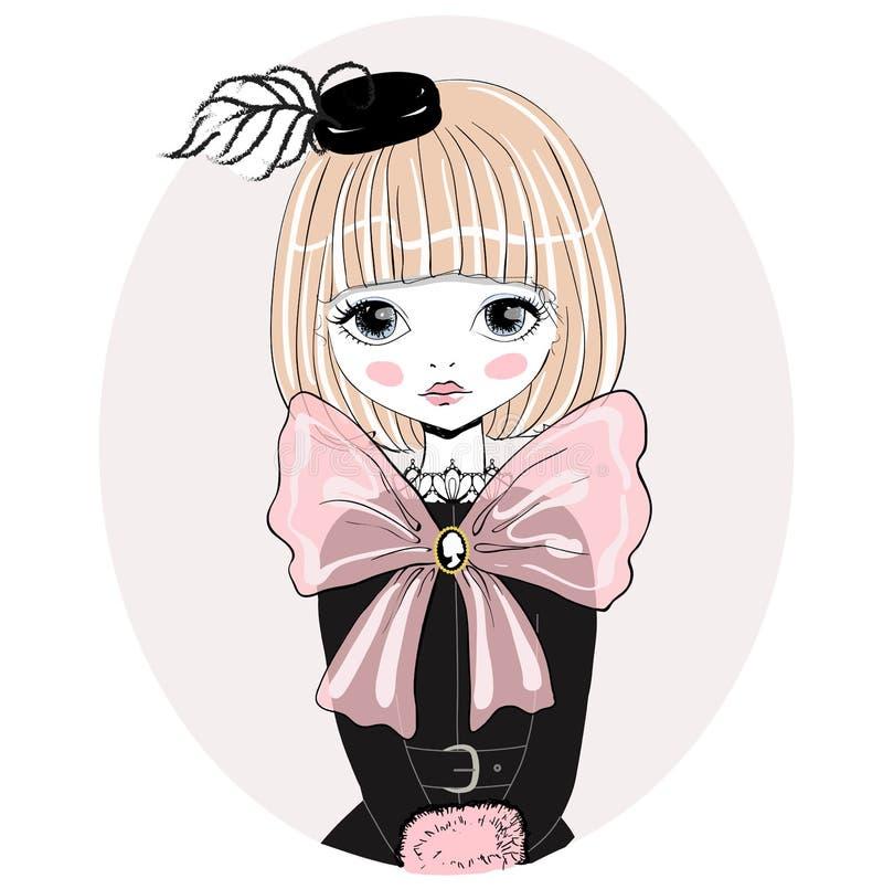 Ilustração romântica bonita do vetor da menina ilustração royalty free