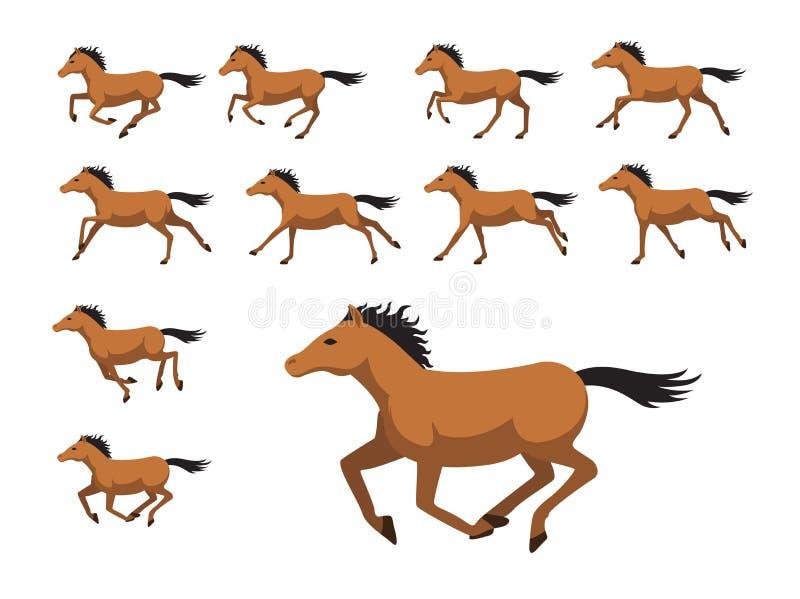 Ilustração running do vetor dos desenhos animados do cavalo da sequência da animação ilustração do vetor