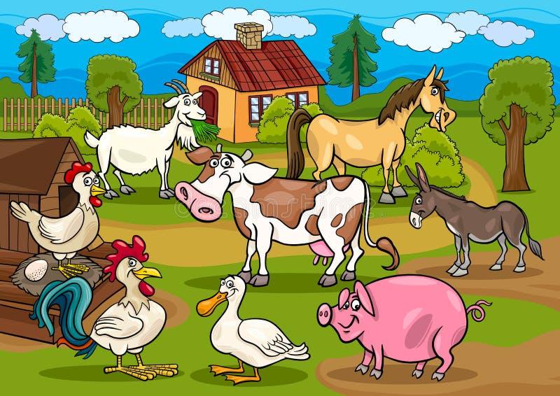 Ilustração rural dos desenhos animados da cena dos animais de exploração agrícola ilustração royalty free