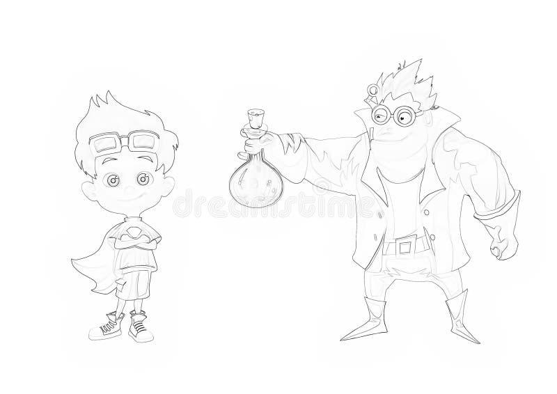 Ilustração: Série do livro para colorir: Doutor louco Father e filho super ilustração royalty free