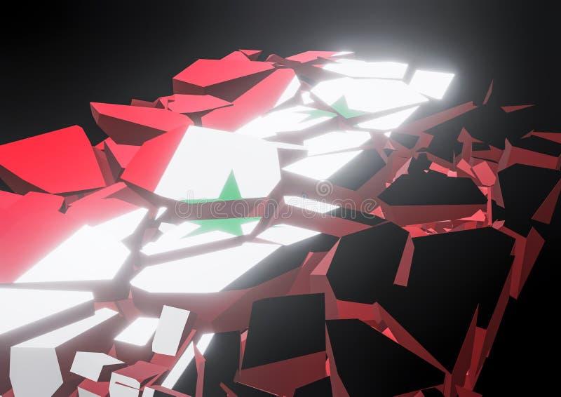 Ilustração síria da bandeira 3d do colapso do estado rendida ilustração royalty free
