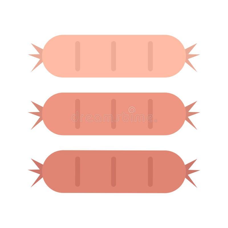 Ilustração saboroso do gráfico de três salsichas ilustração royalty free