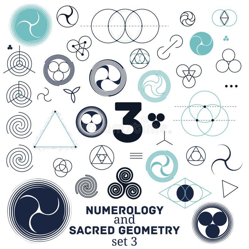 Ilustração sagrado da geometria e do vetor dos símbolos da numerologia ilustração stock