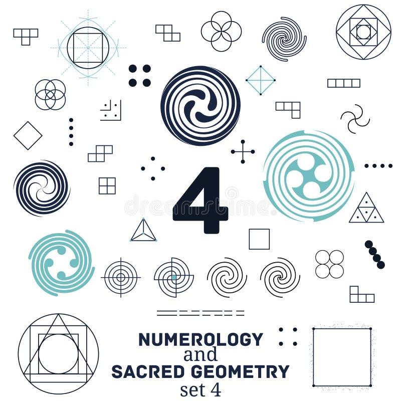 Ilustração sagrado da geometria e do vetor dos símbolos da numerologia ilustração royalty free