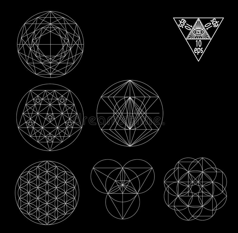 Ilustração sagrado do vetor dos símbolos e dos signes da geometria Tatuagem do moderno Flor do símbolo da vida ilustração royalty free