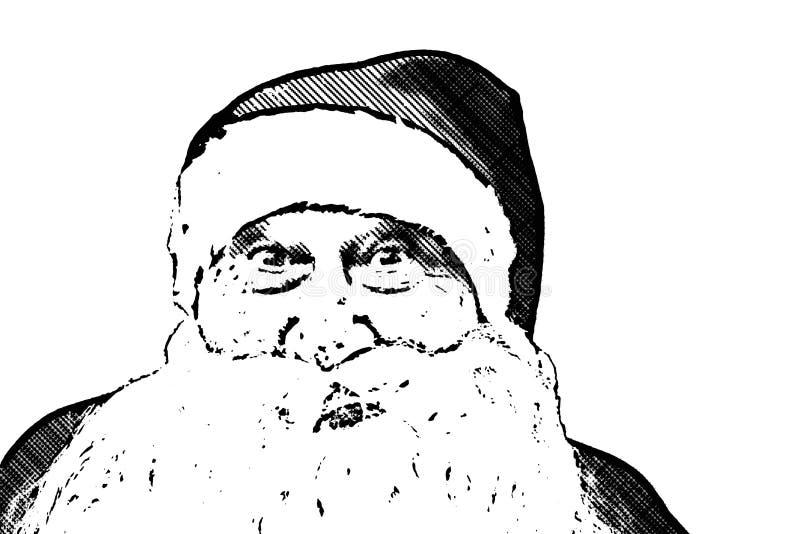 Ilustração, Santa Claus com expressão surpreendida fotos de stock
