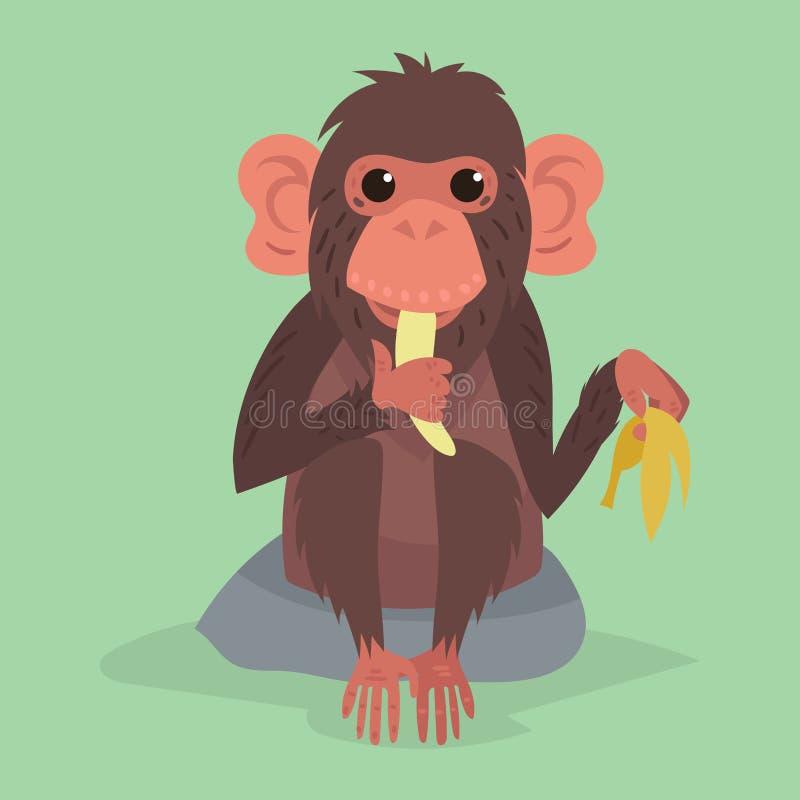 Ilustração selvagem animal do vetor do chimpanzé do macaco do jardim zoológico do caráter bonito do macaco ilustração royalty free
