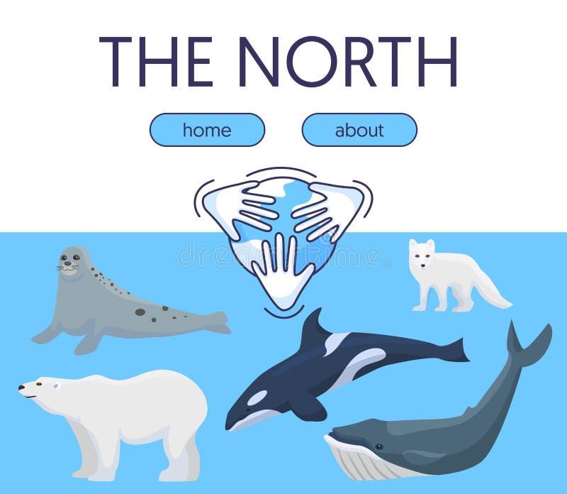 Ilustração selvagem do vetor da proteção de natureza do ártico e da Antártica para sites e página da aterrissagem Urso de Polo, r ilustração stock