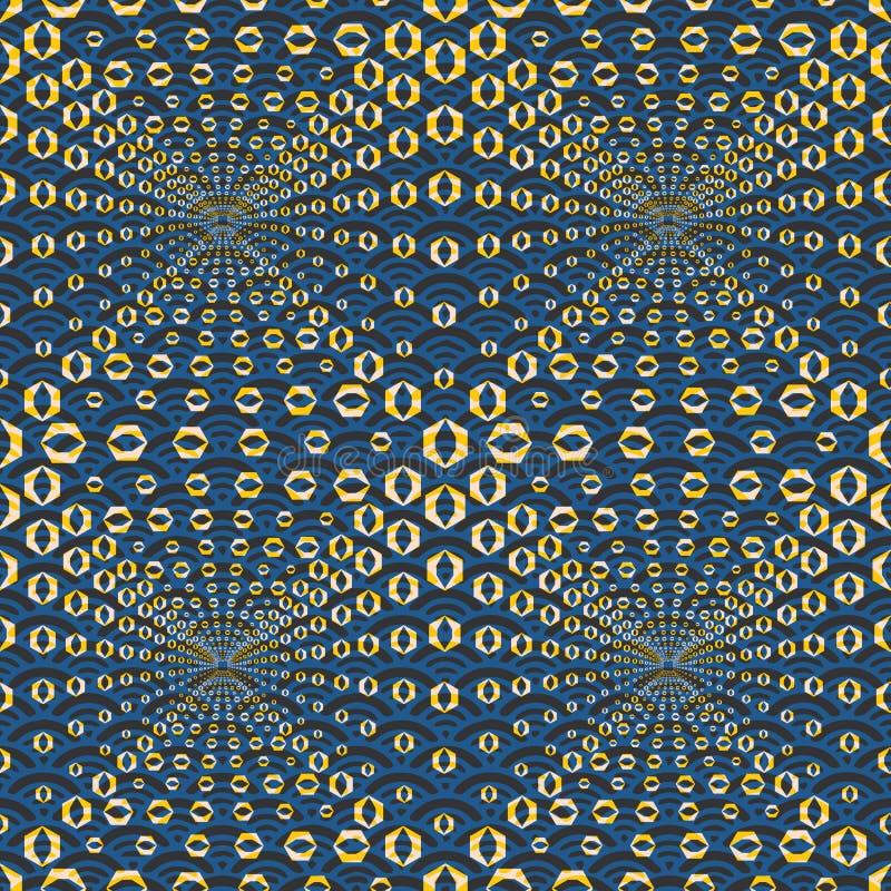 Ilustração sem emenda abstrata do teste padrão de telhas sextavadas da ilusão ótica ilustração royalty free