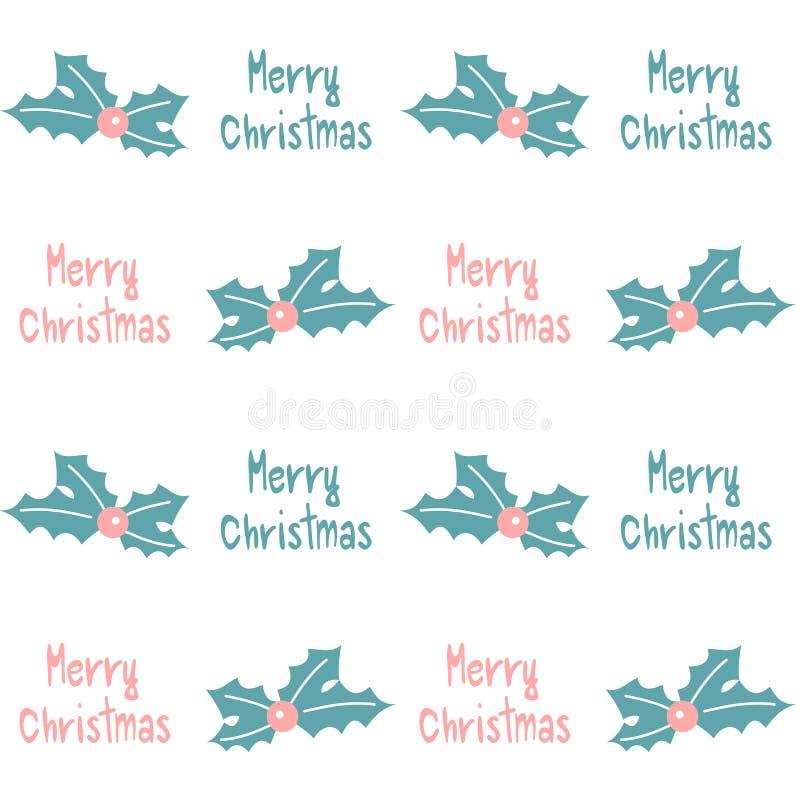 A ilustração sem emenda azul cor-de-rosa bonito do fundo do teste padrão do vetor com azevinho e o Feliz Natal tirado mão text ilustração royalty free