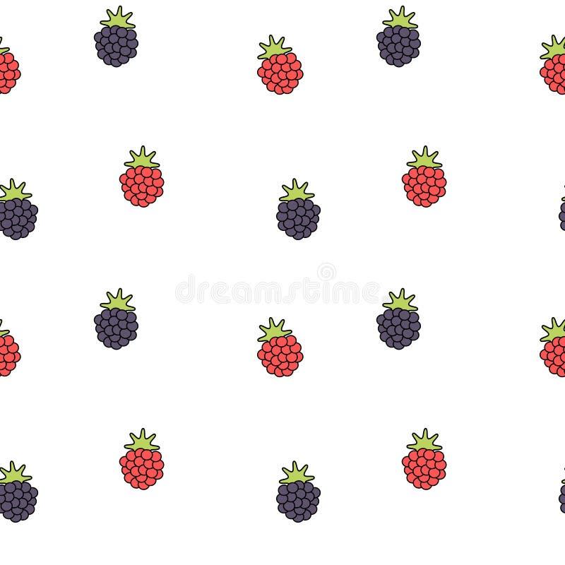 Ilustração sem emenda bonito do fundo do teste padrão da amora-preta e da framboesa dos desenhos animados ilustração stock