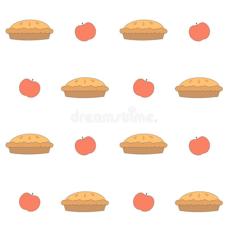 Ilustração sem emenda bonito do fundo do teste padrão do vetor das tortas de maçã dos desenhos animados ilustração stock