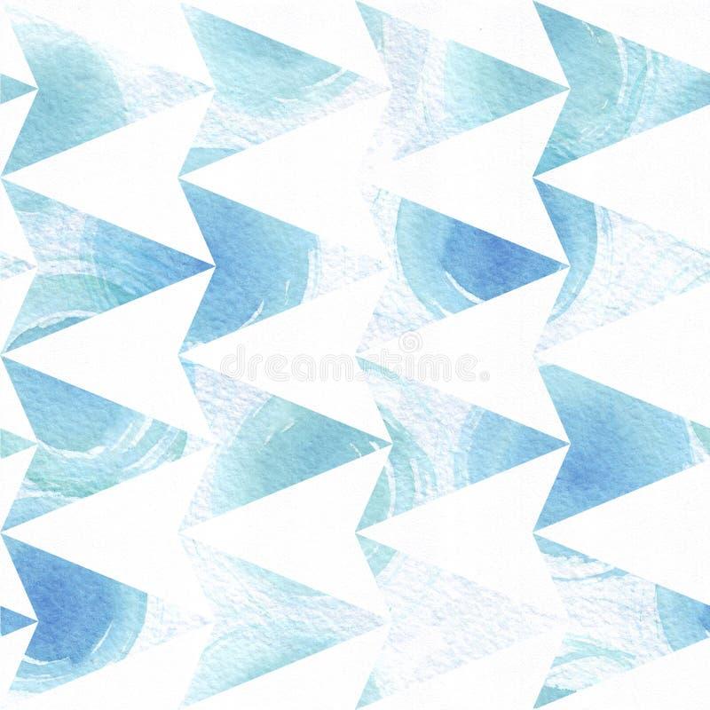A ilustração sem emenda colorida azul com teste padrão geométrico, com base na textura da seta do triângulo e a escova tirada mão ilustração stock