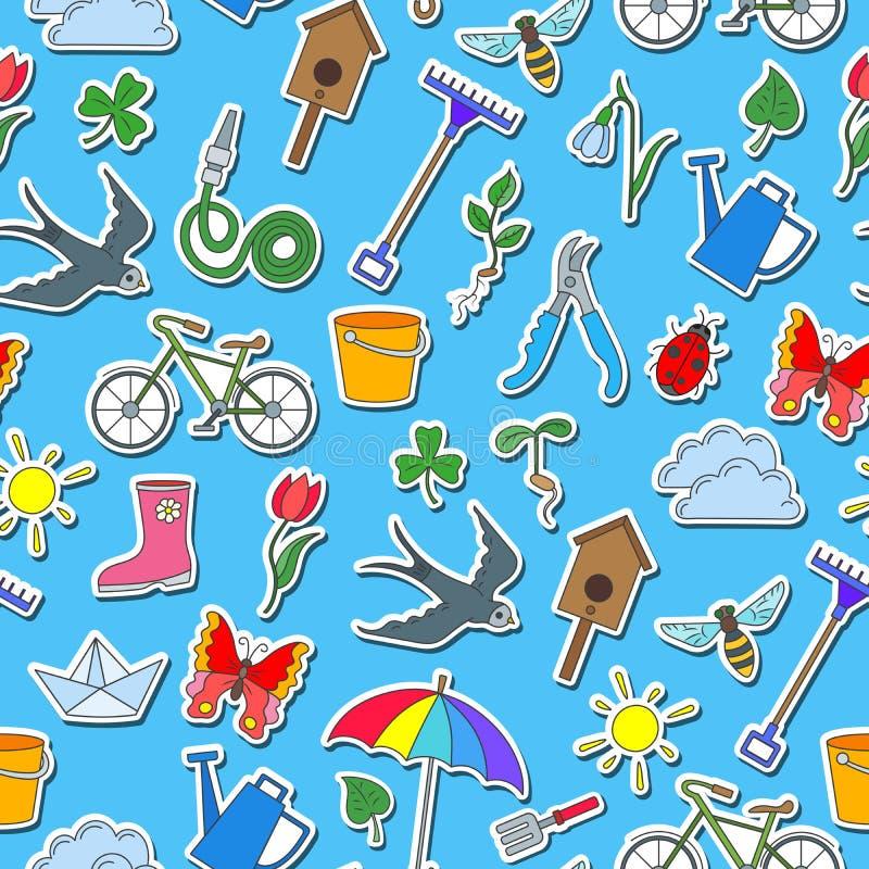 Ilustração sem emenda com ícones simples em um tema da mola, etiquetas coloridas em um fundo azul ilustração do vetor