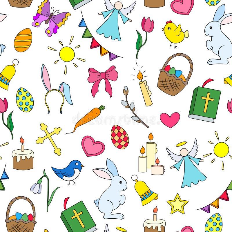 Ilustração sem emenda com ícones simples em um tema o feriado da Páscoa, ícones coloridos no fundo branco ilustração royalty free
