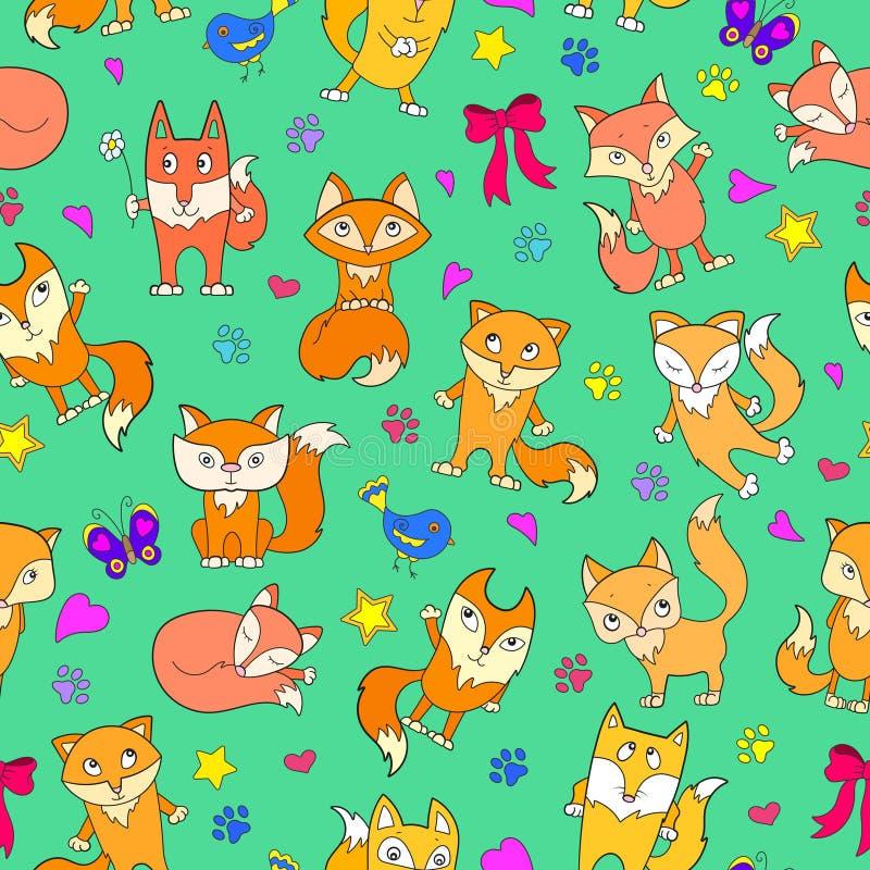 A ilustração sem emenda com desenhos animados engraçados foxes em um fundo verde ilustração royalty free