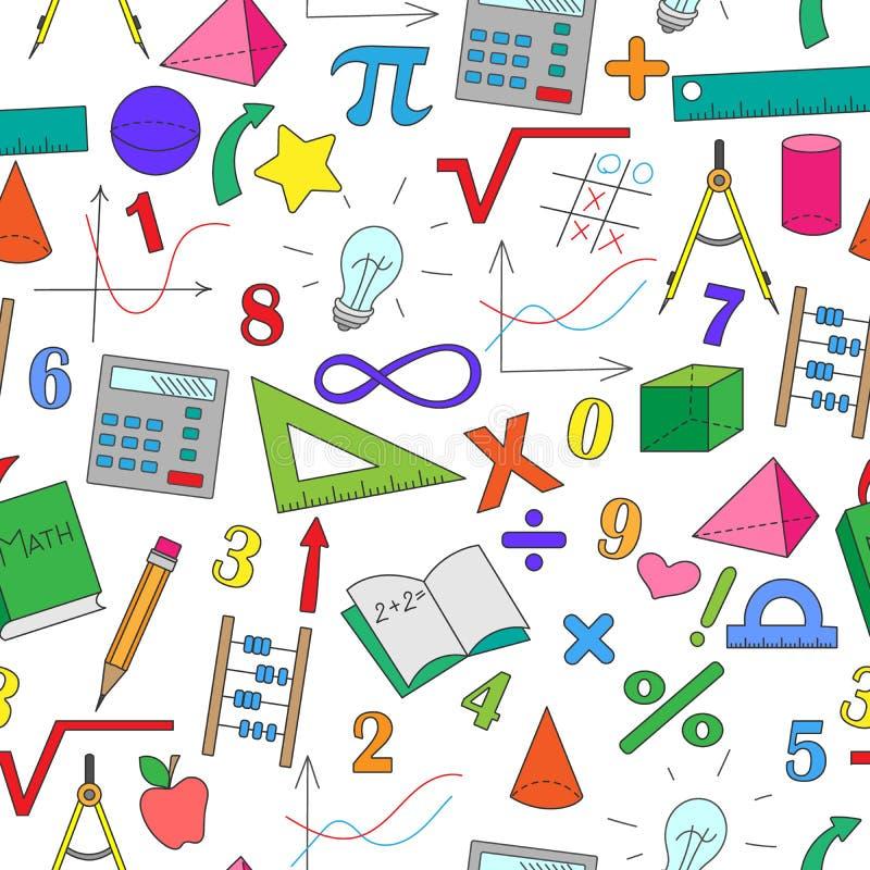 Ilustração sem emenda com os desenhos simples desenhados à mão no tema da matemática ilustração royalty free