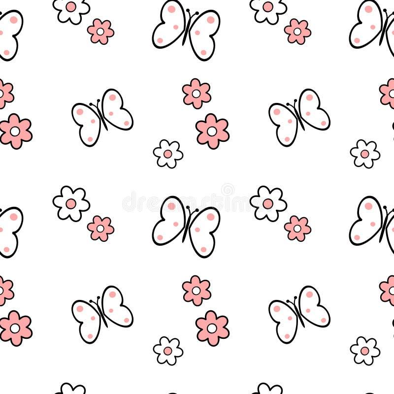 Ilustração sem emenda cor-de-rosa branca preta do fundo do teste padrão das flores e das borboletas da margarida ilustração royalty free