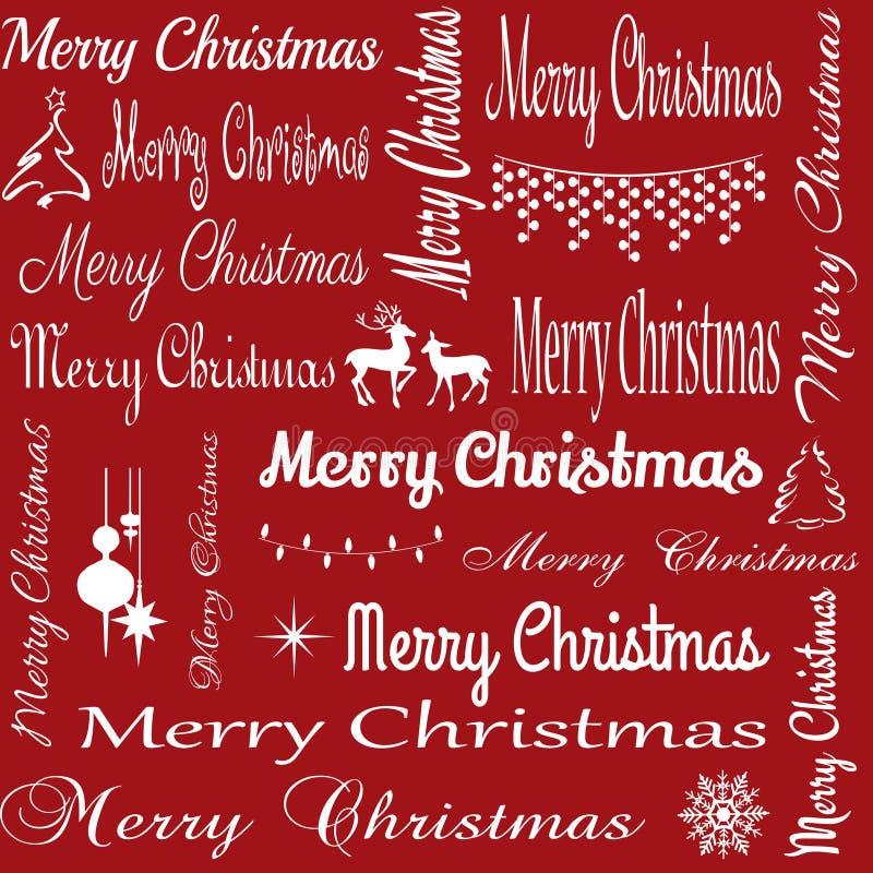 Ilustração sem emenda da tipografia do Feliz Natal ilustração royalty free