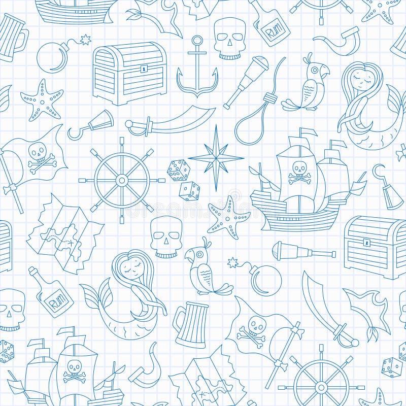 A ilustração sem emenda do assunto da pirataria e o curso de mar esboçam os ícones, ícones azuis do contorno na folha limpa do es ilustração stock