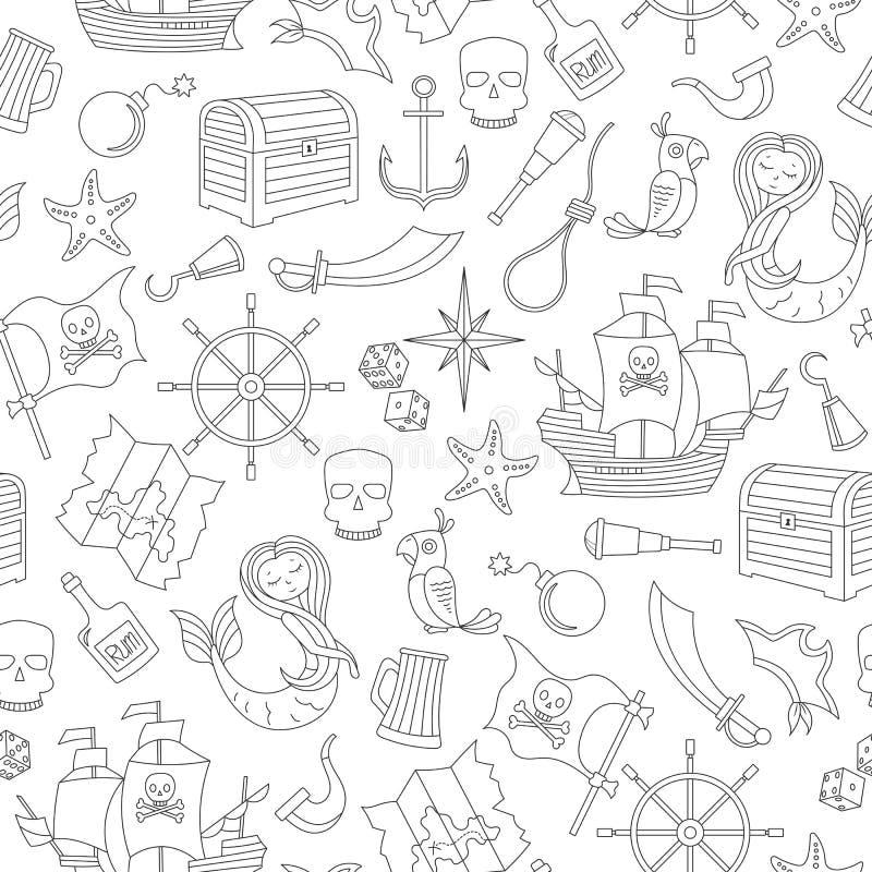 A ilustração sem emenda do assunto da pirataria e o curso de mar esboçam os ícones, contorno preto no fundo branco ilustração stock