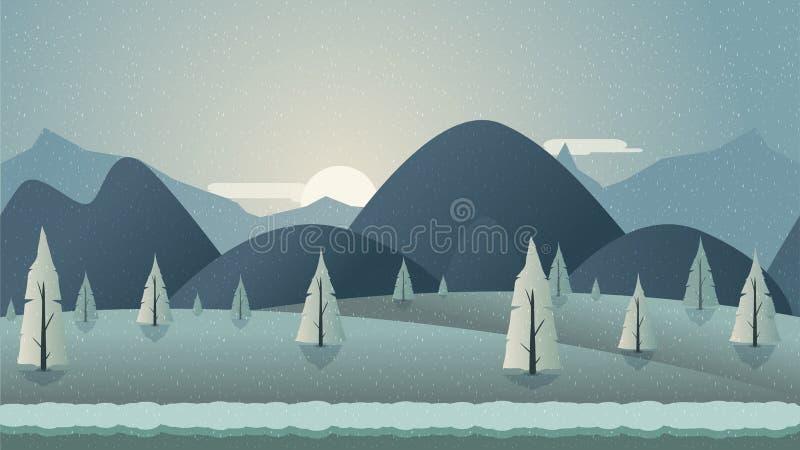 Ilustração sem emenda do fundo da montanha para o app móvel, a Web, o jogo com neve e o gelo ilustração royalty free