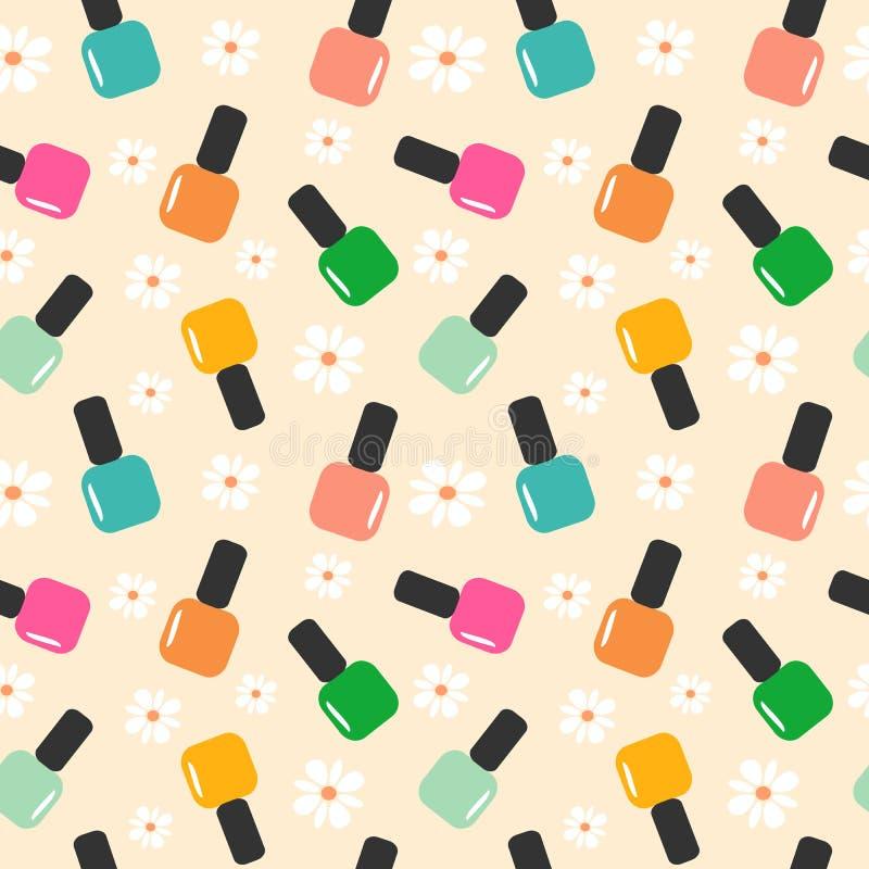 Ilustração sem emenda do fundo do teste padrão da cor do verniz para as unhas do verão da mola ilustração stock