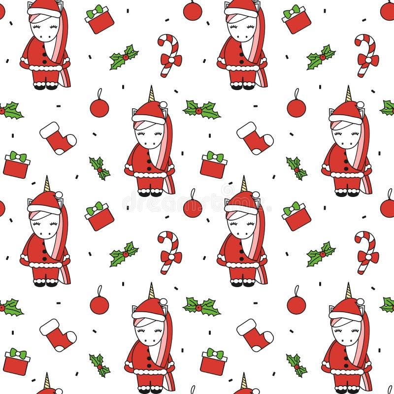 Ilustração sem emenda do fundo do teste padrão do Natal bonito do vetor dos desenhos animados com unicórnios de Santa, caixas de  ilustração royalty free