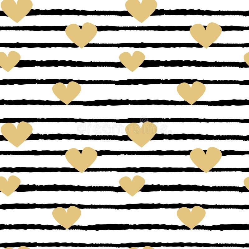 Ilustração sem emenda do fundo do teste padrão do vetor com corações tirados mão do ouro em listras preto e branco ilustração do vetor